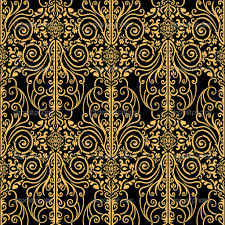 tileing halloween background gold black and silver art deco fabric and wallpaper tile