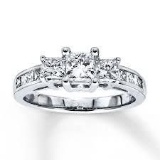 three stone engagement rings kay 3 stone diamond ring 1 1 2 ct tw princess cut 14k white gold