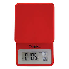taylor digital compact kitchen scale in red 3817r the home depot