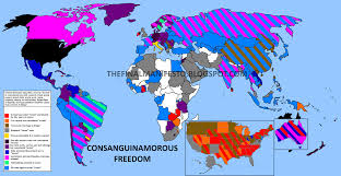 Global Map Of The World by The Final Manifesto Global Map Of Consanguinamory Laws