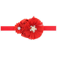 christmas hair bows 50pcs lot lovely chiffon flower christmas hair bows headband