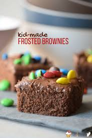 chocolate cake brownies with m u0026m fudge frosting in the kids u0027 kitchen