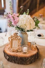 wood centerpieces a rustic barn wedding at rivercrest farm wood slab table