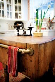 antique butcher block kitchen island butcher block with rustic pipe for towels wish i could use my