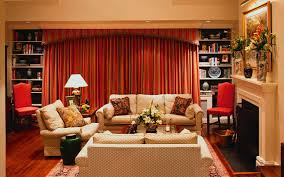 living room living room curtain ideas in red theme with tiers