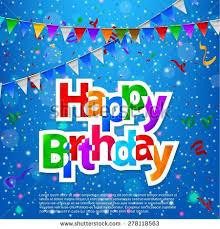 happy birthday greeting card triangular flags stock vector