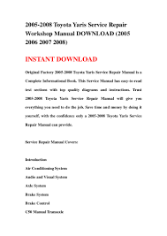 2005 2008 toyota yaris service repair workshop manual download 2005 u2026