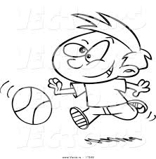 vector cartoon boy dribbling basketball coloring