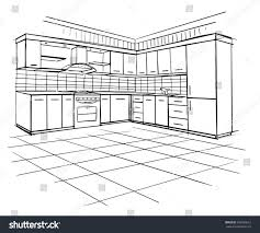 house architecture drawing modern interior sketch corner kitchen design stock vector
