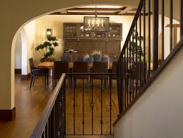 Dark Wood Banister Wrought Iron Spindles Staircase Mediterranean With Curved
