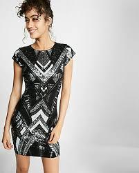 express dress deco sequin embellished cap sleeve sheath dress express