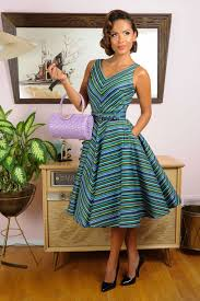pinup couture 50s havana nights dress in cabana stripes unique