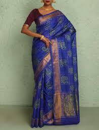 Buy Royal Blue Pure Silk Checks With Peacock Motifs Tissue Gold Border Royal Blue Pure