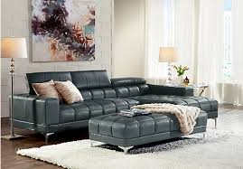 Rooms To Go Sofa Bed Shop For A Sofia Vergara Sybella Blue Blended Leather 4 Pc