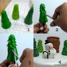 fondant trees and snowman tutorial by veena s of
