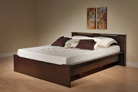 Plans For Platform Bed With Headboard by Minimalist Dark Brown Wooden Queen Platform Bed Frame With Storage