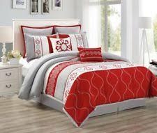 Red And Grey Comforter Cal King Comforter Set Ebay