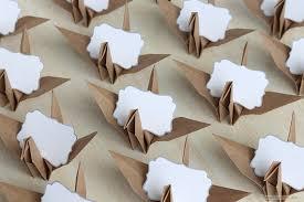 16 name place cards kraft origami paper crane neutral wedding