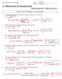 mole calculation worksheet answer key worksheets pinterest
