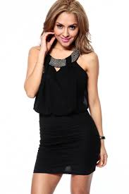 Draped Black Dress Embellished Black Draped Fit Dress Cicihot Dresses