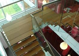 Wood Glass Stairs Design Glass Straight Staircase