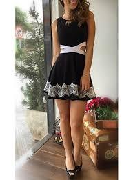 casual summer mini dress black sleeveless color block lace