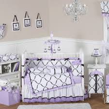 bedroom purple and lavender crib bedding set on white stained