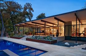 traditional decor glass walled house with traditional decor