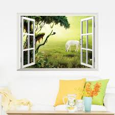 3d grassland white horse art beautiful mural wall sticker wall package content 1 sheet wall sticker decals product size 50 70cm condition 100 brand new and high quality where to apply stickers will stick to any