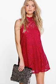 penny lace high neck shift dress boohoo