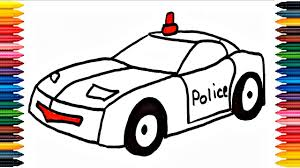 police car draw learn draw police car colors picture