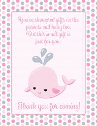thank you favor sign for baby shower whale baby shower theme for