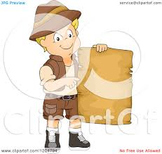 Blank Treasure Map by Cartoon Of A Happy Blond White Explorer Boy Holding A Blank