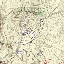 Chattanooga Map Print Of Chickamauga Battle 1901 Ed Movements From To