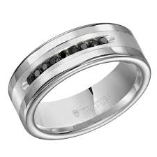 Sterling Silver Comfort Fit Wedding Bands Triton Tungsten Carbide U0026 Sterling Silver 9mm I3 Ij Black Diamond