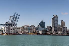 barber downtown auckland commerical harbor with auckland skyline editorial stock image