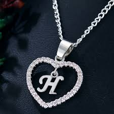 aliexpress crystal necklace images If me initial tiny letter h heart crystal necklace for women jpg