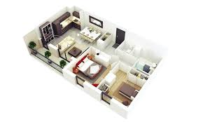 Home Designing 3d by 25 More 2 Bedroom 3d Floor Plans