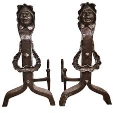 vintage set of figural cast iron fireplace andirons for sale at