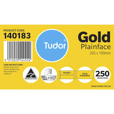 Pocket Envelopes Tudor Plainface Pocket Envelopes 265 X 190mm Gold Officeworks
