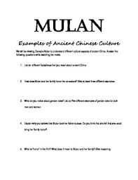 mulan worksheet ancient chinese culture examples kristi rodenbeck