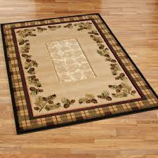 Area Rugs Beige Winter Pines Rustic Pine Cone Area Rugs