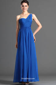 royal blue chiffon one shoulder sweetheart classic long prom dress