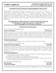 personnel specialist sample resume construction project manager resume examples best management