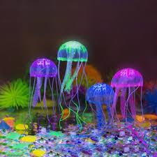 4pcs aquarium jellyfish decoration glowing effect fish tank