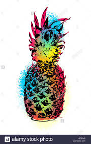 modern pineapple fruit art in fun stencil paint style colorful