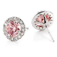 baby diamond earrings angela betteridge fancy baby pink created diamond earrings
