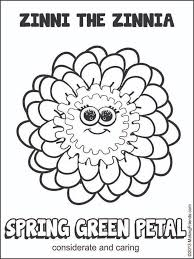green coloring page daisy scout spring green petal considerate and caring print