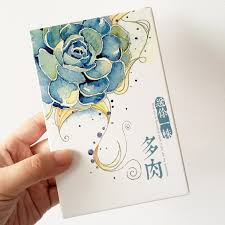 30 pcs pack hand drawing watercolor succulent plants greeting card