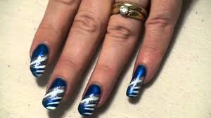 sparkly blue white u0026 silver nail art design easy youtube